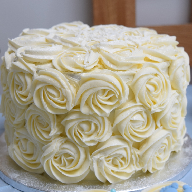 Blue Ombre White Rosette Cake