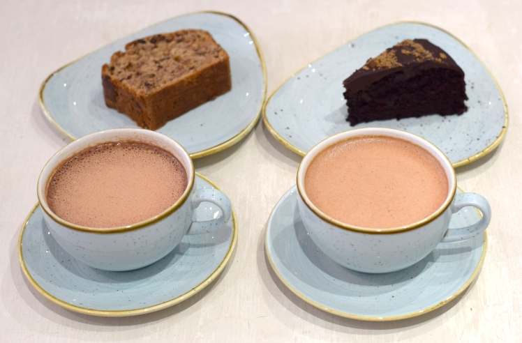 Hot chocolates and cakes